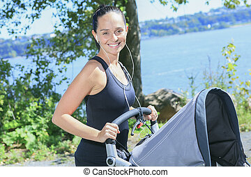 bambino, jogging, carrozzino, giovane, madre