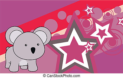 bambino, koala, cartone animato, background2
