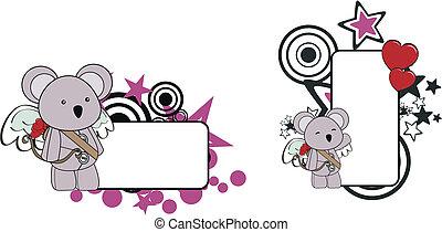 bambino, koala, cartone animato, copyspace