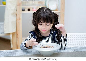 bambino, latte, mangiare, cereale, asiatico