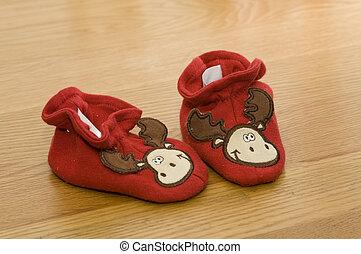 bambino, legno, 2, scarpe