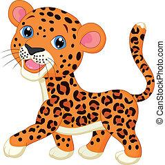 bambino, leopardo, cartone animato, carino