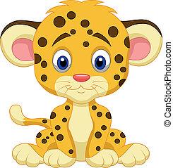 bambino, leopardo, cartone animato