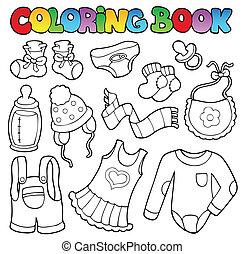 bambino, libro colorante, vestiti