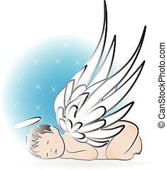 bambino, logotipo, angelo, in pausa