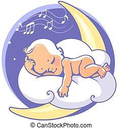 bambino, luna addormentata