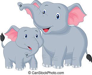 bambino, madre, cartone animato, elefante