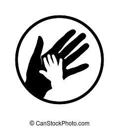 bambino, madre, mani