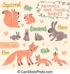 bambino, mamma, set, animale
