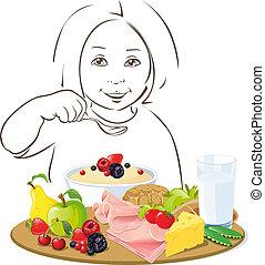 bambino mangiando, sano