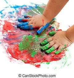bambino, mani, painting.