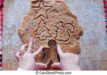 bambino, mani, pasta, fabbricazione, uomo pan zenzero