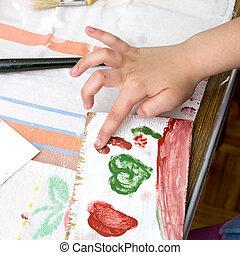 bambino, mani, pittura