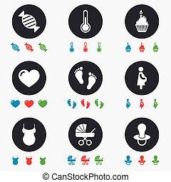 bambino, maternità, gravidanza, icons., cura
