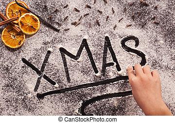 bambino, natale, tavola scrittura, spalmare, farina, mano