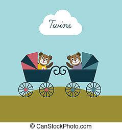 bambino, nato, gemelli, card.