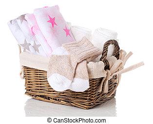 bambino neonato, bianco, paio, fondo., lavorato maglia, calzini