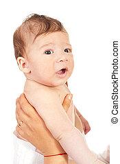 bambino neonato, madre, tenere mani