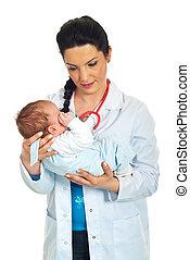 bambino neonato, presa a terra, dottore