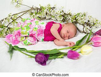 bambino neonato, ragazza, in, rosa, con, primavera, flowers.