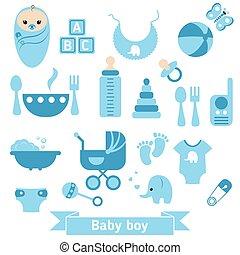 bambino neonato, set, icone