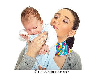 bambino neonato, sonnolento, presa a terra, madre