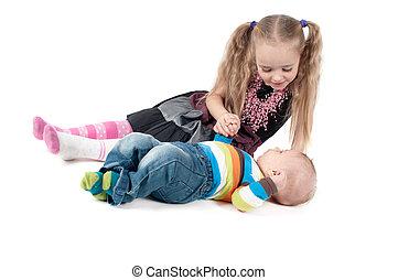 bambino neonato, sorella, ragazzo