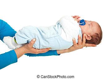 bambino neonato, tenere mani