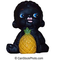 bambino nero, con, ananas