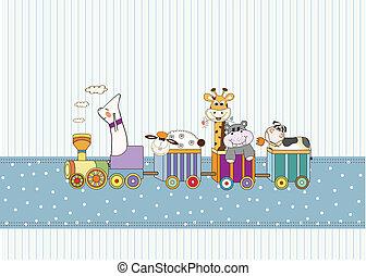 bambino nuovo, annuncio, scheda, con, animale, treno