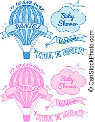bambino, nuovo, balloon, aria calda