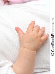 bambino, nuovo nato, mano
