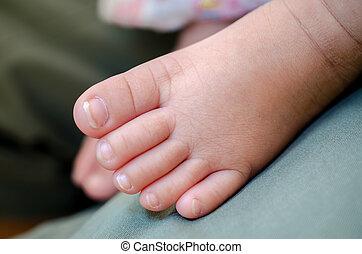 bambino, nuovo, piede, nato