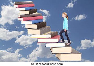bambino, o, adolescente, rampicante, uno, cassa scala, di, libri