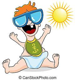 bambino, occhiali sole indossare