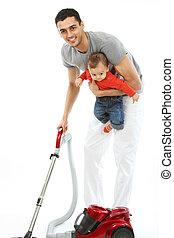 bambino, padre, lavori domestici, -