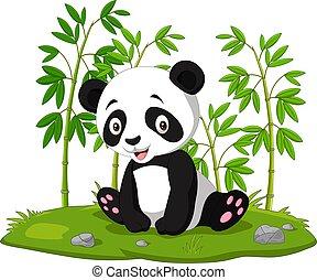bambino, panda, seduta, bambù, cartone animato, giungla