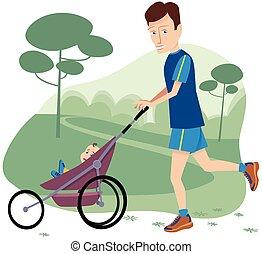 bambino, passeggino fa footing, uomo