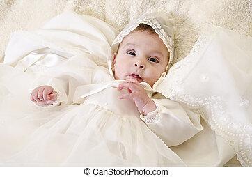 bambino, poco, battesimo, cerimoniale, vestiti