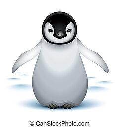 bambino, poco, pinguino imperatore