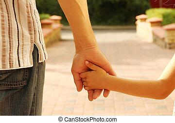 bambino, prese, genitore, mano
