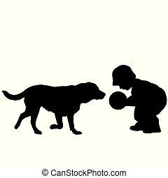 bambino primi passi, gioco, cane