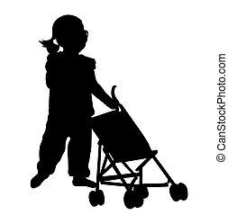 bambino primi passi, gioco, con, passeggino, giocattolo