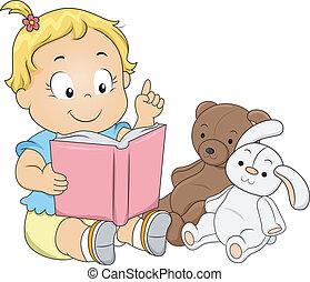 bambino primi passi, ragazza, gioco, insegnante