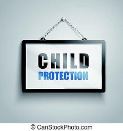 bambino, protezione, testo, segno