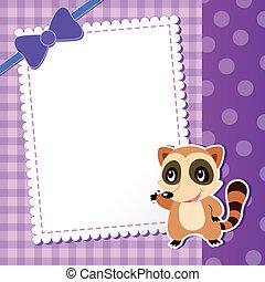 bambino, raccoon., card.