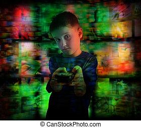 bambino ragazzo, televisione guardante, con, telecomando