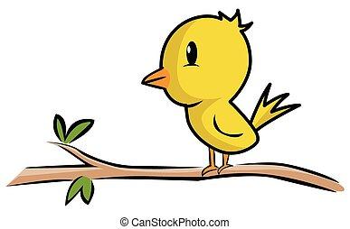 bambino, ramo, uccello, albero