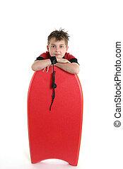 bambino, riposare, con, uno, bodyboard