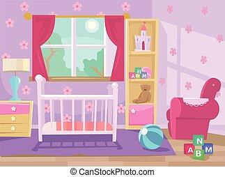 bambino, room., vettore, appartamento, illustrazione
